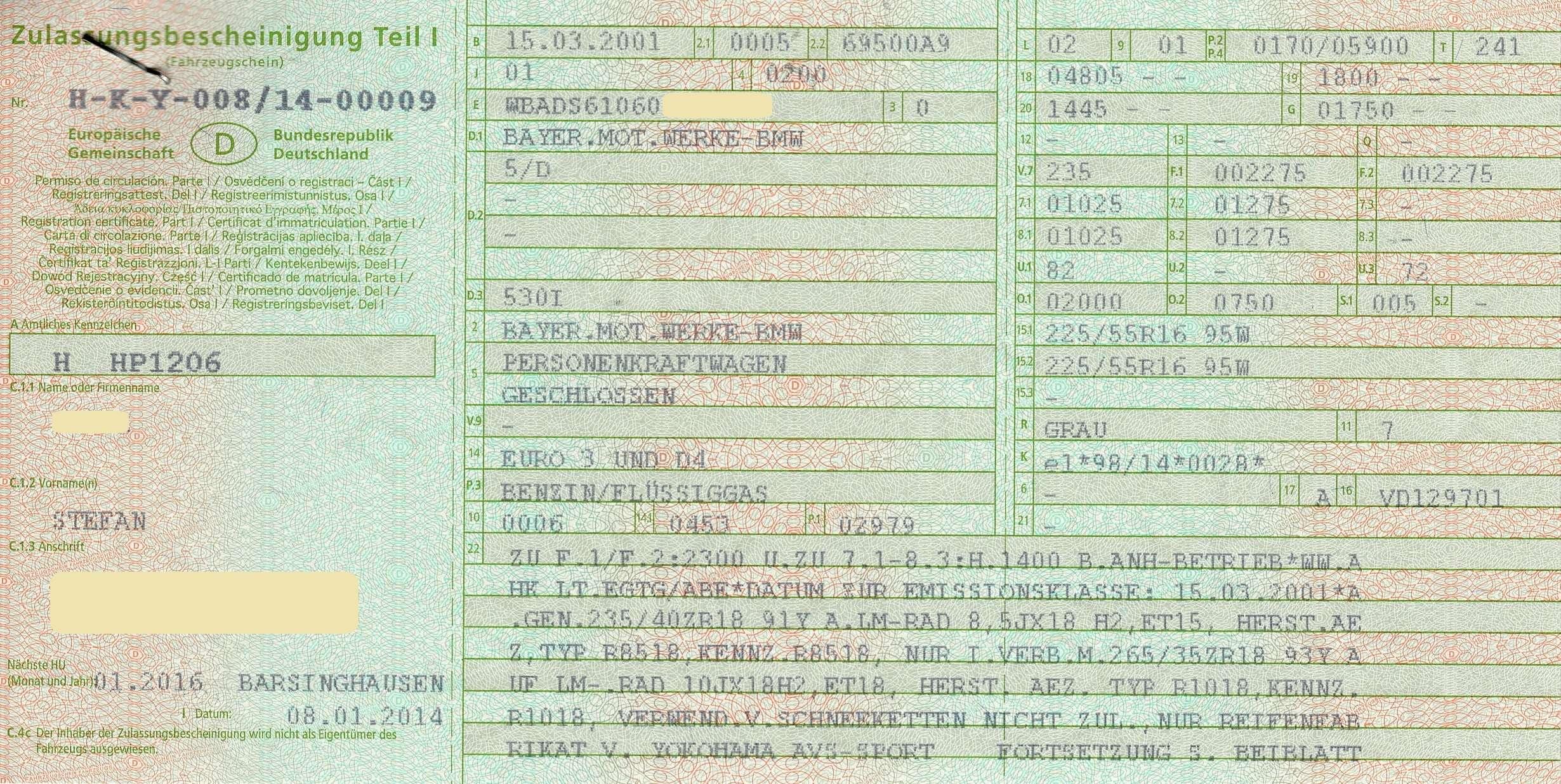 Sammlung Von Eintragungen In Zulassungsbescheinigungen