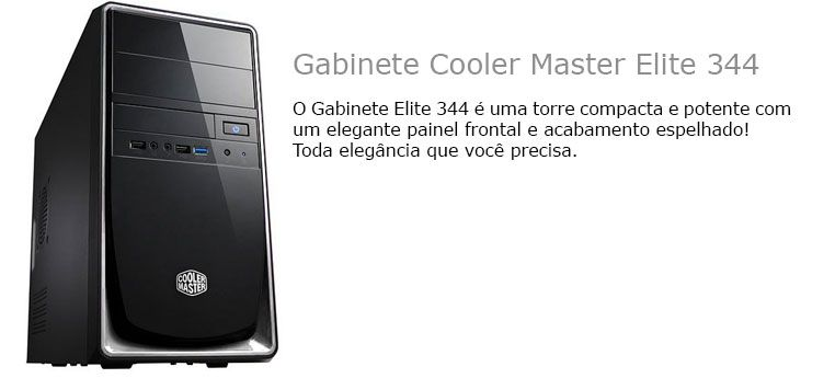Gabinete Cooler Master Elite 344 - USB e Audio Fro